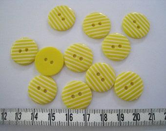 28pcs of  Yellow Stripe  Button - 18mm