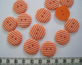 18 pcs of  Stripe  Button in Orange and White -  20mm LAST SET