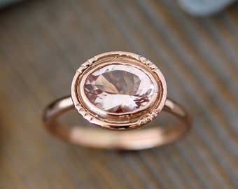 Oval Morganite 14k Rose Gold Engagement Ring // Vintage Halo Ring Design // Feminine, Modern, Delicate Design for the Modern Bride