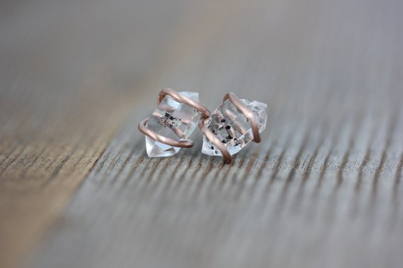 Herkimer Diamond and Recycled 14k Rose Gold and Sterling Silver Post Stud Earrings
