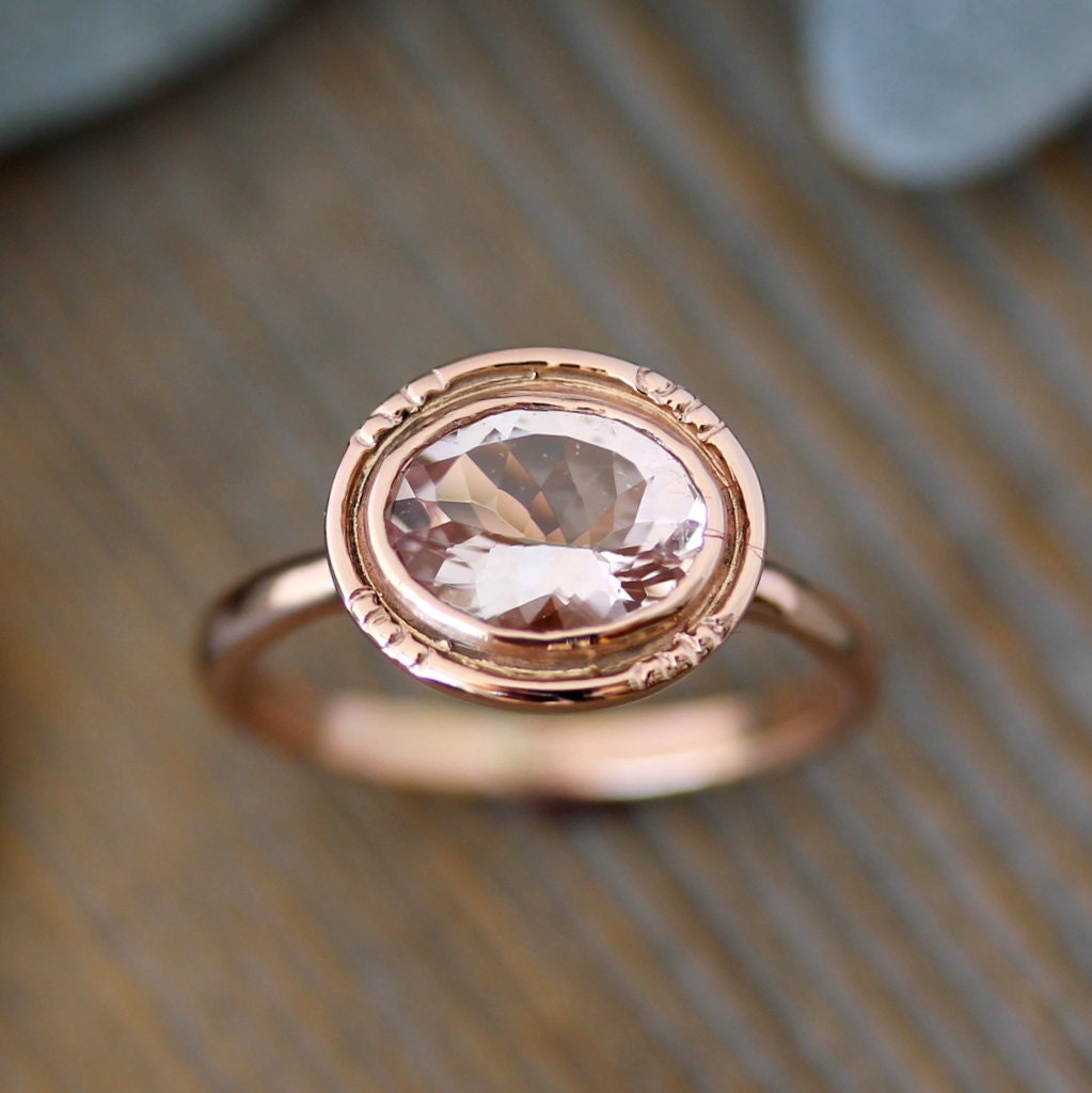 oval morganite 14k rose gold engagement ring vintage halo. Black Bedroom Furniture Sets. Home Design Ideas