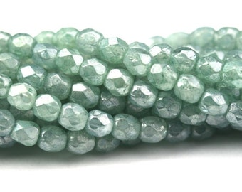 Czech Glass Beads Fire Polished Faceted Rounds 3mm Luster Stone Green (50) CZF488