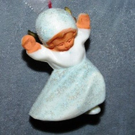 Miniature Frosty Dancing Blue Snow Angel Ornament, 1930's or 1940's, German,  Angel Wings, Cherubs, Snow Angels, Victorian, Shabby Chic