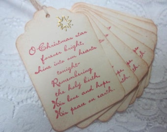 Handmade Vintage Style Gift Tag - Christmas Star - Stamped