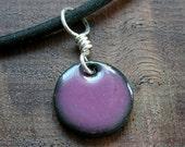 Copper Enamel Necklace Aubergine Orchid Purple Handmade Enamel half inch charm