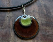 Olive Green and Brown necklace Copper Enamel Disc Handmade Pendant with cord