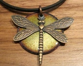 Green Dragonfly Necklace, Dragonfly Pendant, Dragonfly Necklace, Copper Enamel jewelry, Handmade Jewelry