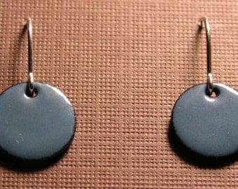 Delft blue Enamel on copper Earrings sterling silver french hooks