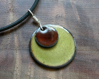 Enamel Necklace, Olive Green, Chestnut Brown Pendant, Copper Enamel Jewelry, Stacked Circle Jewelry, Prairie Style