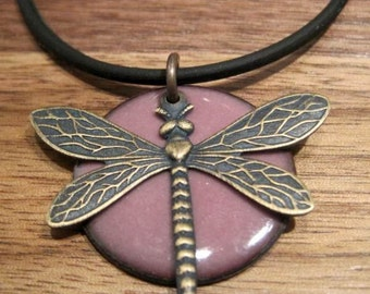 Dragonfly Jewelry, Aubergine, Purple, Copper Enamel Necklace, The Prairie Collection