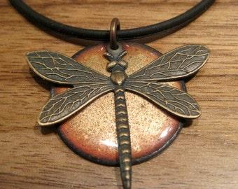 Golden Dragonfly Enamel Necklace, Handmade Dragonfly Jewelry, Copper Enamel