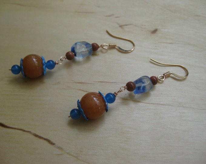 Insouciant Studios Desert Blossom Earrings Turquoise & Carnelian
