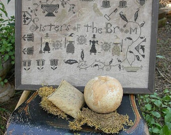 """NEW August 2012 Cross Stitch Pattern from Notforgotten Farm - """"Sisters of the Broom"""" - EHAG - Etsyfolk"""