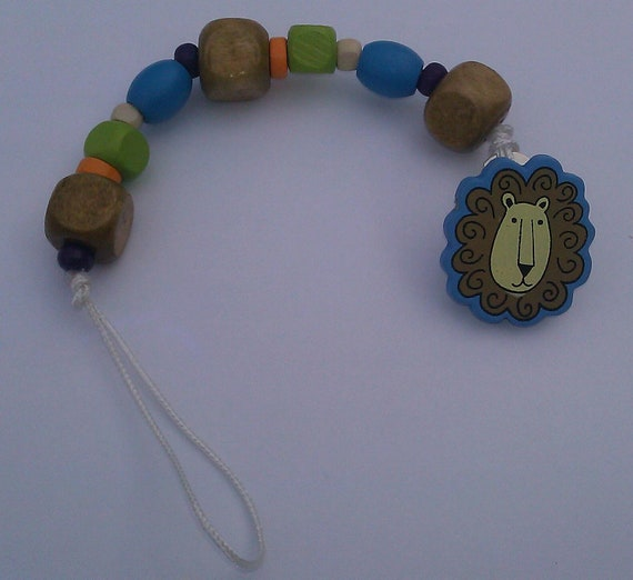 Bright Fun Lion Wood Bead Binky Pacifier Clip Holder Dummy
