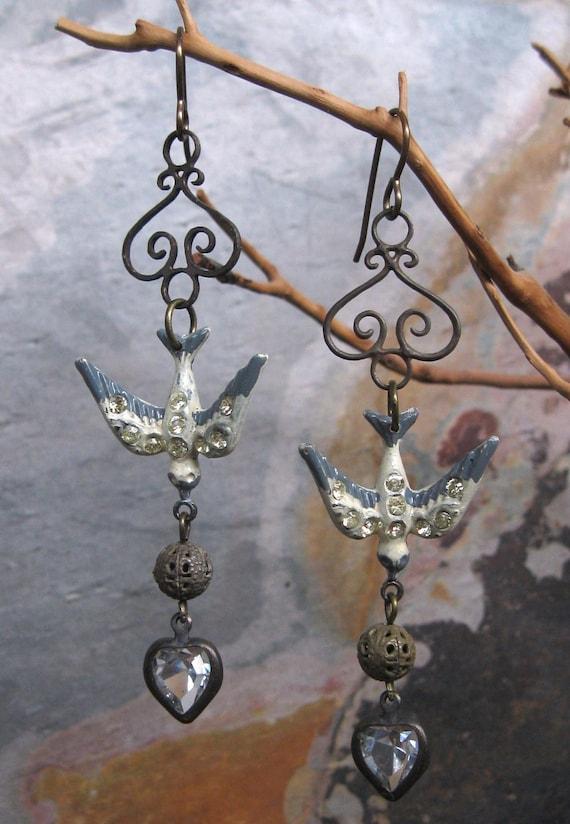 Cream Rhinestone Bird Dangle Earrings Brass Vintage Components
