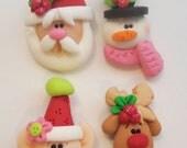 Mini Mix Set Santas, Elf, Rudolph, Snowman Polymer Clay Charm Bead Scrapbooking Embelishment Bow Center Pendant Cupcake Topper