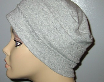 3-Band Gray  Knit Chemo, Cancer, Alopecia Hat, Hair loss, Alopecia
