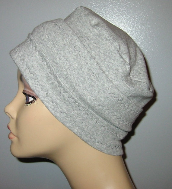 3-Band Gray  Knit Chemo, Cancer, Alopecia Hat, Hair loss, Alopecia