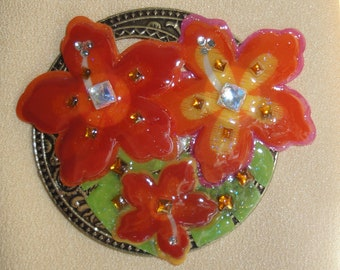 Vintage 3 and 1/4 inch orange floral brooch with rhinestone accents, New magnetic back clasp for easy secure wear, bonus scarf