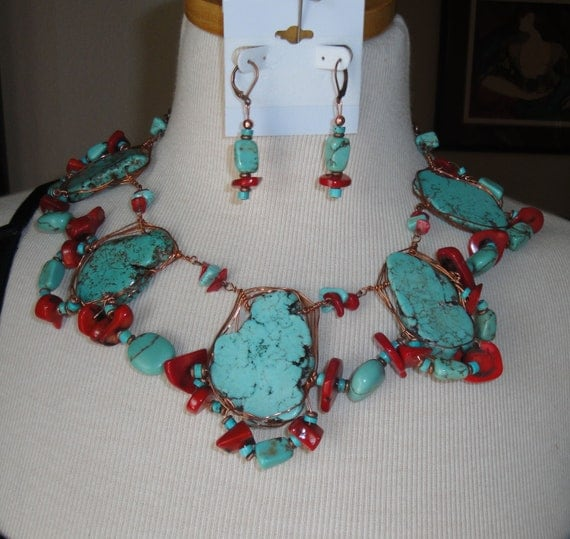 Large Collar Style Necklace, Set made with Copper Wire Wrapped Turquoise slices and Red Coral, Truly Special necklace, pierced earrings set