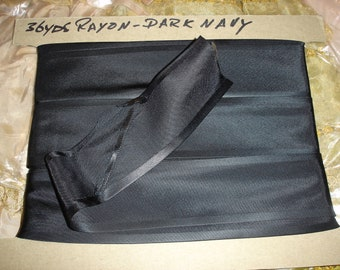 "Vintage Bolt of Dark Navy 2"" Rayon Binding Approx. 36 Yards 2"