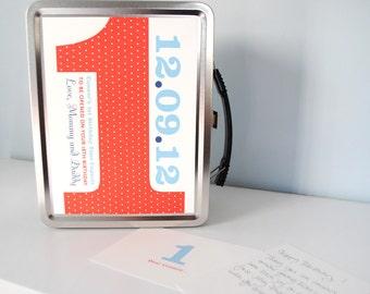 Time Capsule, baby keepsake, wedding time capsule, custom baby gift, birds, bunting flags, metal lunchbox, personalized