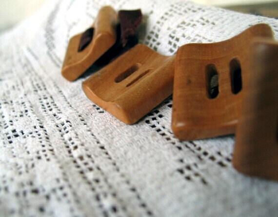Vintage Wood Square Buttons