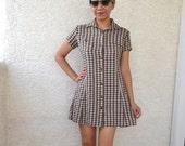 vintage 90s creme and brown gingham rockabilly shirt dress sz M