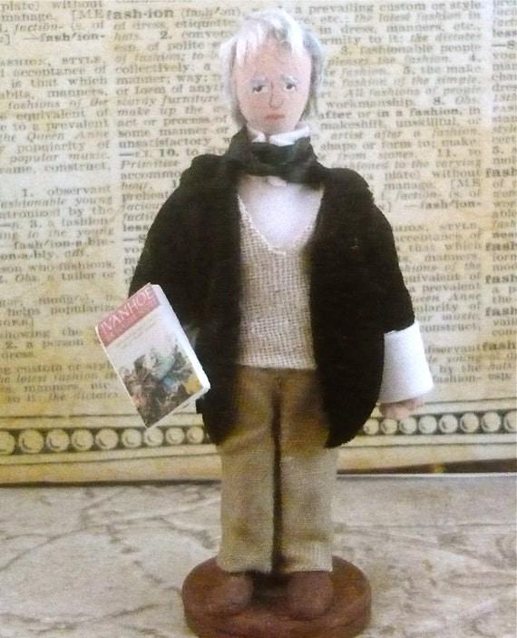 Doll Miniature Sir Walter Scott Author of Ivanhoe Art Collectible