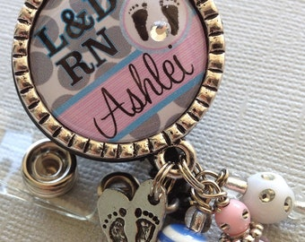 Personalized ID badge reel - NICU RN, L&D, ob, labor and delivery, baby footprints, postpartum, sonogram, stork charm
