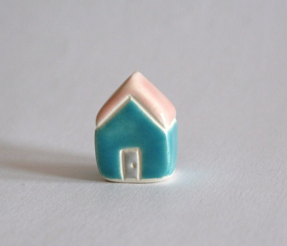 Tiny Cottage   Pink Blue  miniature little clay house