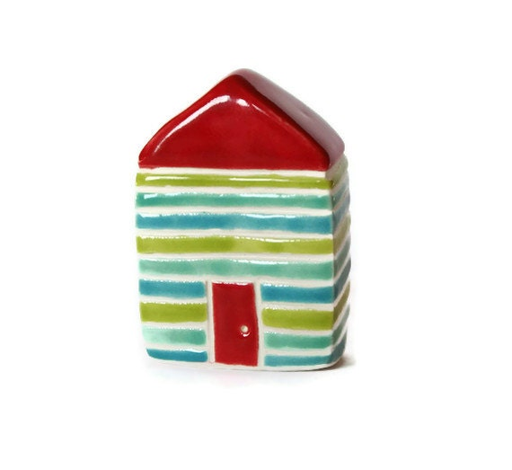 Black Friday Cyber Monday Striped Cottage Aqua Blue Lime Jade Green red miniature little clay house