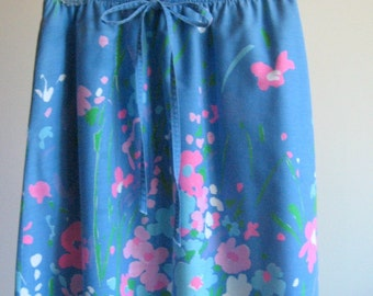 Vintage Flower Garden Skirt - Blue with Sky Blue, Pink, and White Flowers