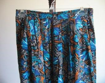 Vintage Night Garden Skirt - Blue, Turquoise, Rust, Tan, and Black Print