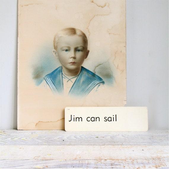 Vintage 1930's Sailor Boy Portrait and Flashcard, 16 x 20