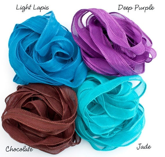 SowZerE - Deep Dyed Solid Colour  - Four Pure silk hand dyed Chiffon ribbons