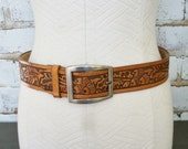 Vintage Brown Tooled Leather Belt Acorns and Leaves 32
