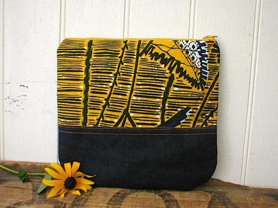 SALE Indigo batik wax canvas, denim clutch, pouch - eco vintage fabrics