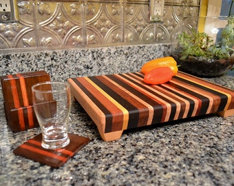 Personalized Laser Engraved Large Wood Cutting Chopping Butcher Board Blockr -  With Wood Drink Coasters in Caddy