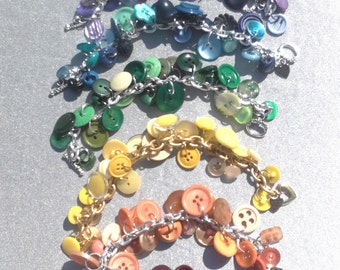 Custom orders in all Colors of the rainbow ... vintage sewing button charm bracelet