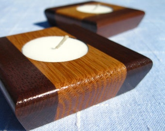 Pair of Red Oak and Walnut Tealight Candle Holders
