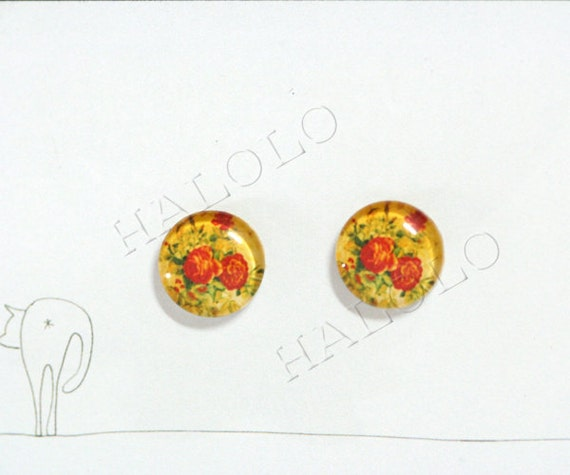 Sale - 10pcs handmade red flowers surrounded by green leaves round clear glass dome cabochons 12mm (12-0221)