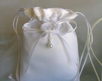 SALE, SALE, MINI White Drawstring Bag Bride/Bridemaids Gift, Prom, Confirmation, Birthday, Flower Girl Bag Accessory