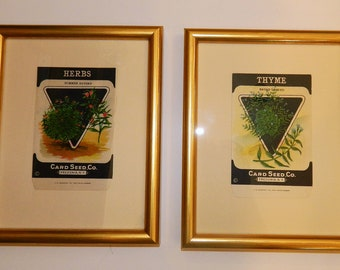 Set of 2 Vintage Card Seed Packets - Framed in Gold