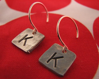 Mini PMC Initial Square Dangle Earrings