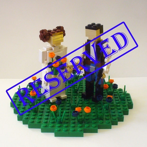 For Callie Milam -- Custom LEGO Leia and Han in Flower Patch Cake Topper