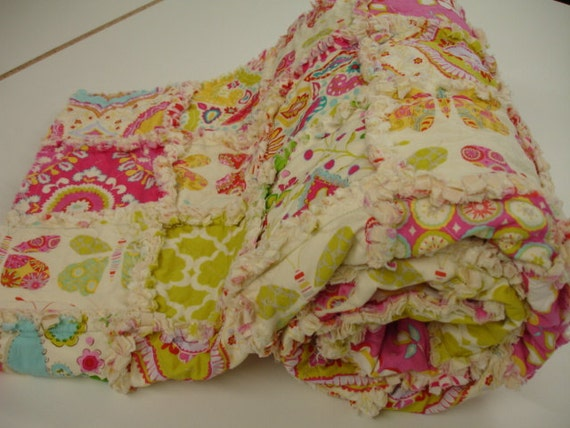 Butterfly Garden Rag Quilt READY TO SHIP 60 x 69 On Sale