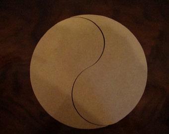 Yin Yang Unfinished Mini Mosaic Base 4 inch Diameter 1/4 Inch Thick
