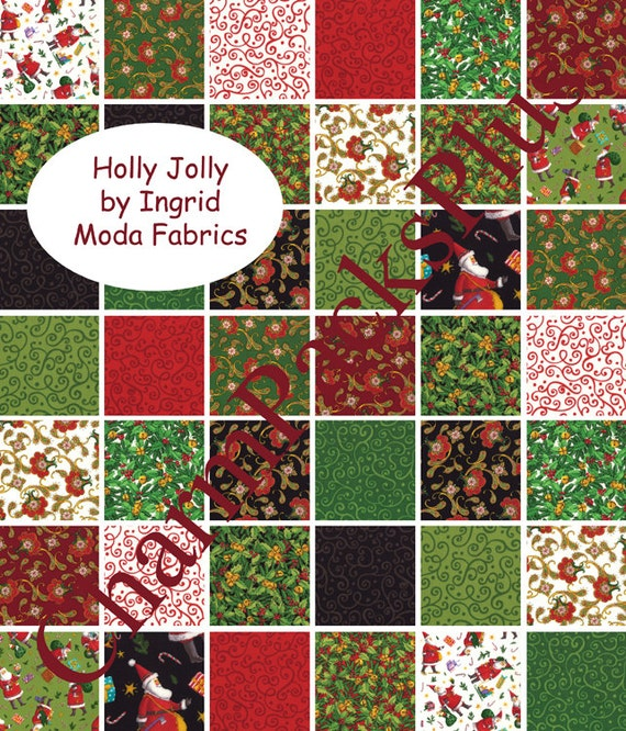 HOLLY JOLLY by Ingrid  - Moda Charm Pack - Christmas - 5 inch Quilt Fabric Squares - 23100pp