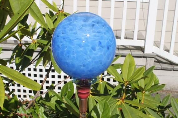 Sky Blue Hand Blown Orb or Ball Garden Art Sculpture Outdoor Decoration